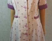 60s/70s Vintage Purple Diamond Print Textured Mod Scooter/Shift Dress