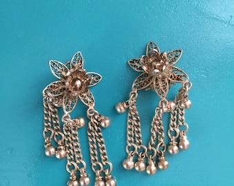 Vintage Mexican Silver Filigree Earrings