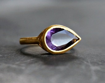 15%OFF 18K Gold Ring Pear Amethyst Ring
