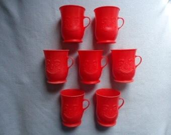 Vintage Kool Aid Cups Mugs Set of 7 Red Plastic 1980's Vintage