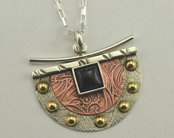Mixed Metal Pendant - Black Onyx Pendant - Metal Jewelry - Artisan Jewelry