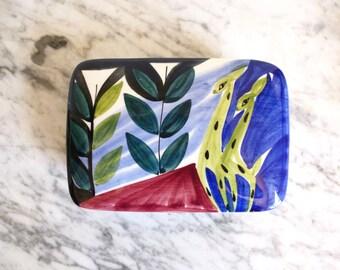 Vintage Inger Waage Stavangerflint Handpainted Ceramic Trinket Box Norway Mid Century