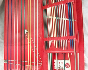 Boye Knitting Needles ~ Original Red Case ~ Large Assortment Several Sizes ~ Vintage Metal Knitting Needles
