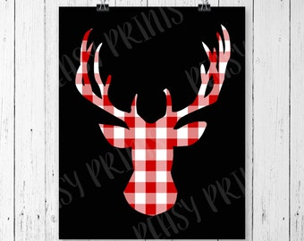 Deer print, deer picture, buffalo plaid, deer head, deer antler, antlers, antler decor, antler print, fall decor, fall print, winter decor
