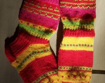 Summer path -Womens Girls Boys Wool socks Handknitted boot socks red pink yellow Winter Warm Cosy Christmas Gift idea Handmade in FINLAND