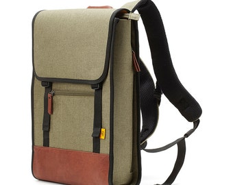 Simple Square Polyester Backpack (Khaki)