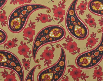Cotton Quilting Fabric, Paisley Fabric, Red and Tan Fabric, Cotton Fabric by the Yard, Sewing Fabric, Black and Red - 1 1/8 Yard - CFL1802
