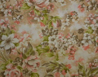 Vintage Cotton Fabric, Manes Fabric, Cotton Floral Fabric, Vintage Floral, Peach and Tan, Vintage Fabric - 1 3/8 Yard - CFL1883