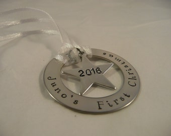 Custom hand stamped metal ornament, baby's first christmas, personalise, star, silver
