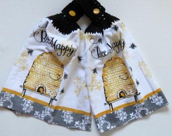 Kitchen Towels Queen Bee Crochet Top Set of 2