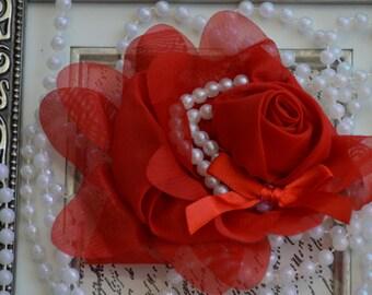"Chiffon Flower, Red Chiffon Flowers, 5"" Chiffon Flowers, Chiffon Pearl Flowers,  Large Chiffon Flower"