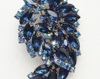 Huge Juliana Style Rhinestone Brooch, Aurora Borealis Blue Rhinestone Vintage Brooch