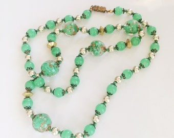 Art Deco Venetian Glass Necklace, Vintage Murano Beads, Filigree Caps, Italian Bead Vintage Necklace