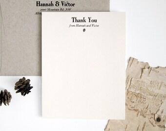 ATRIUM Letterpress Thank You Cards - Vintage meets Modern - Custom Unique Flat Wedding