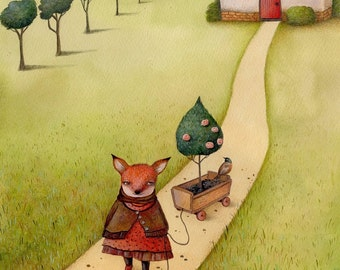 Fox walking her rose bush, art print