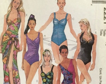 Misses One Piece Bathing Suit and Pareo McCalls  2221 UNCUT