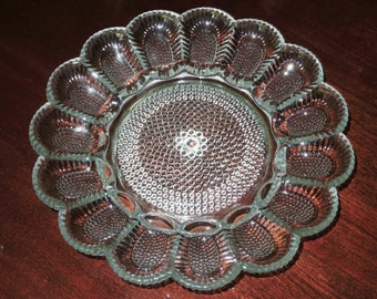"""INDIANA HOBNAIL EGG Plate Platter Indiana Glass Company Divided Salad Heavy Dish 11 1/4"""" Round 15 Holders Deviled Egg Excellent Condition"""