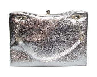 vintage 1960s large silver handbag / ILA of California / metallic chrome / vintage purse / vintage accessories
