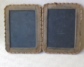 Antique Hinged Chalkboard Slate Dual Frame Fabric Hinges Four Sided Felt Edge 1900 Children's School Days