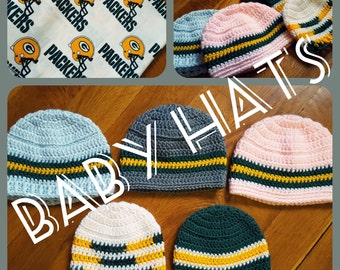 Packer BABY Crocheted Basic Beanie Hats by Angel Kisses - Newborn, Infant, Toddler