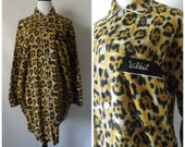 Leopard Flannel Nightshirt Vintage 60s Button Down Animal Print Nightgown Long Sleeves Size M/L Medium Large Pajamas 1960 Rockabilly Hipster