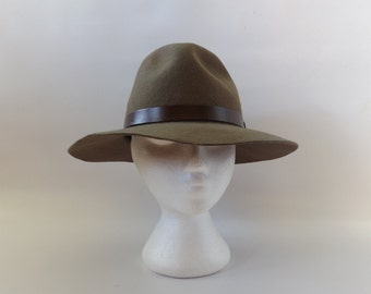 Brown Wool Fedora Hat Vintage 80s Mens Womens Large Indiana Jones Trilby Wide Brim Hats Hipster Boho 1980s Leather Band Cap Hippie Accessory