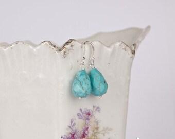 SALE Petite blue turquoise teardrop earrings, sterling silver small earrings, faceted light blue turquoise stone, small blue earrings