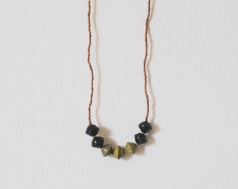 Long Black/Olive Paper Bead Necklace