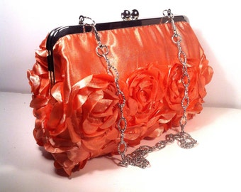 Coral Orange w/ Roses Purse Clutch Bag 8 X 4.5 X 2 w/ 20 inches Silver Chain Handle