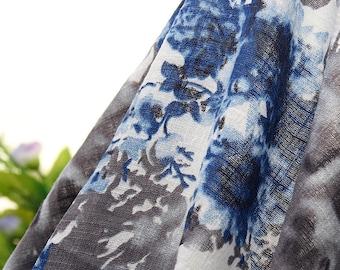 Blue Floral Linen Gauze Fabric PZ776
