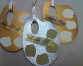 "Vintage Christmas Ornament French ""Joyeux Noel"" Painters Palette Tag Board Gold Gilt Ormolu Silver Mercury Glass Handmade"