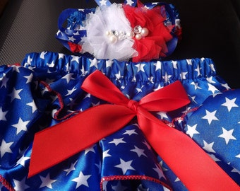 Diaper cover and headband. 4th of July, Red Blue, White