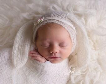 Lace Long Eared Bunny Bonnet -Easter Bonnet -Bonnet- Mohair Bonnet-Newborn Bonnet