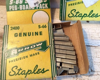 Staple Gun, Staples, Vintage Supplies, Arrow Staples, Paper Boxes, S66, Two boxes, Industrial, Retro, Mad Men, all vintage man