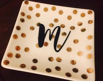 Gold Polka Dot Personalized Monogram Ring Dish