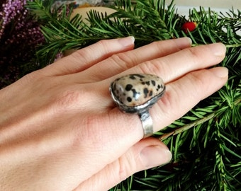 Dalmatian Jasper RING, Statement ring, gift for her, boho, gypsy, Adjustable ring, natural stone ring , One of a kind, Hand made by BUSTANI