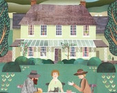 Bloomsbury Group, Print, Naive Art, Virginia Woolf, Country Garden, Tea Party, Green, Illustration, Collage, England, Country House