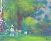 Peaceful Impressionistic Pastel Garden Scene Decorative Original Art by Niki Hilsabeck