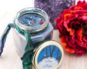 NEW MOON Blue Candle Mugwort Hibiscus Sage Cornflower Amethyst Lapis Lazuli Clear Quartz