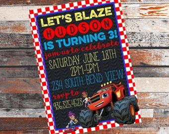 Blaze and the Monster Machines Invitation. Monster Truck Invite. Blaze Invite. Blaze Invitation. Blaze Birthday Party. Blaze. Blaze Party.