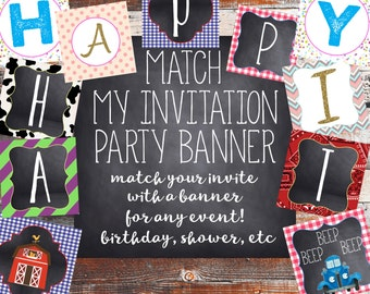 Party Banner (Match My Invitation) Birthday Party. Birthday Party Banner. Baby shower Banner. Birthday Party Invitation. Shower Invitation.