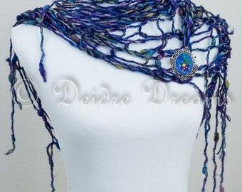 Dark Blue Bridal Wrap, Fringe Scarf, Fishnet Shawl Winter Bridal Shrug Boho Scarf Knit Stole Arm Knitted Shawl Hippie Bolero Bridal Cover Up