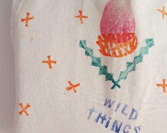 Lux Lucis Wild Things Tote - Hand printed / stamped - Blue, Gift
