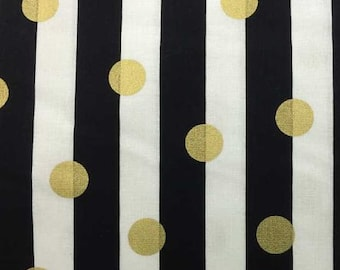 Black and Gold  Fabric 100% Cotton Quilting Sewing