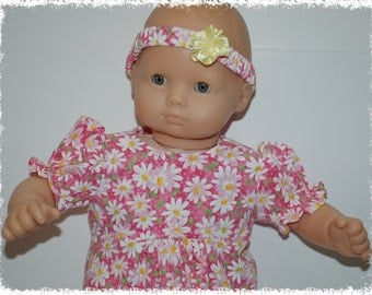 "Short Sleeve 1-Piece Jumpsuit - Pink Daisy (Bitty Baby 15"" Doll)"