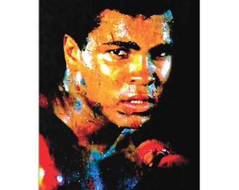 Pop Art 'Muhammad Ali Affirmation Realized' by Artist Mark Lewis, Colorful Ali Painting Limited Edition Giclee Print on Metal or Acrylic