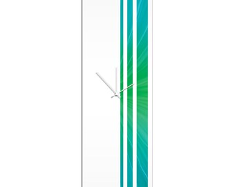 Large Modern Clock 'Caribbean Triple Stripe Clock' by Adam Schwoeppe - Wall Decor Minimalist Accent Piece on Acrylic