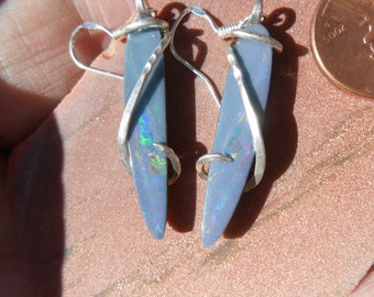 Coober Pedy Opal  Silver Wrapped Earrings