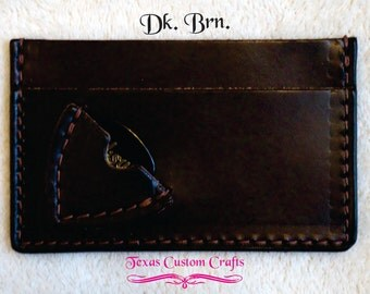 Personalized Leather Guitar Pick/Plectrum ID Wallet ***With or Without Name or Initials***