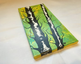 Original Handmade Art- Abstract Painting of Minnesota Birch Trees in Bright Yellow, Lime Green, Black, and White~ 7x14 Acrylic on Canvas